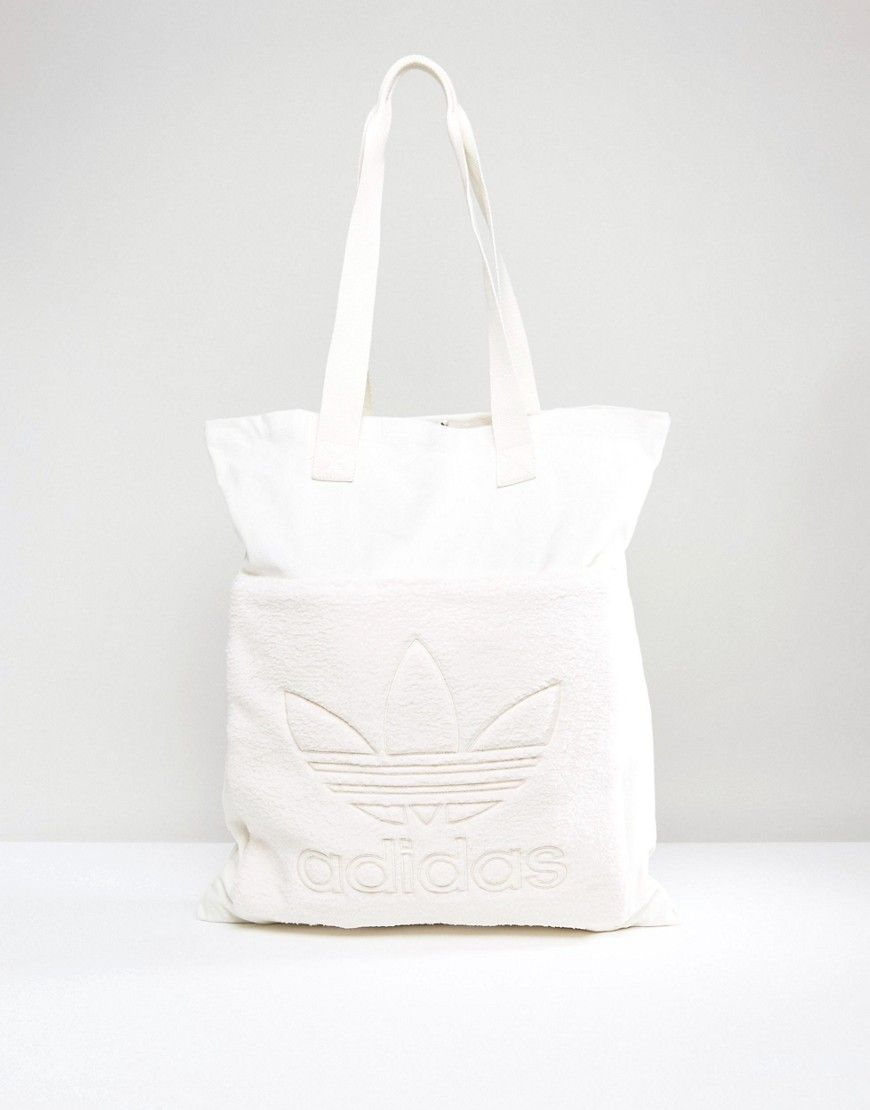 9196e51ff6 ADIDAS ORIGINALS ORIGINALS CREAM FLEECE SHOPPER BAG - WHITE.   adidasoriginals