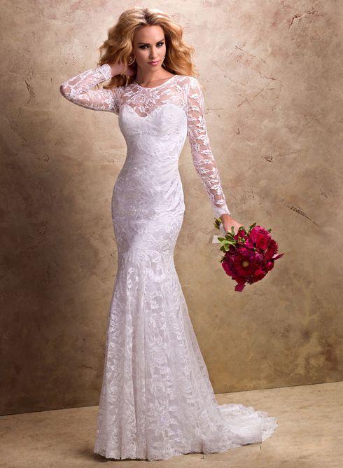Buy 2014 Beautiful Slim Lace Long Sleeves Chapel Train Wedding ...