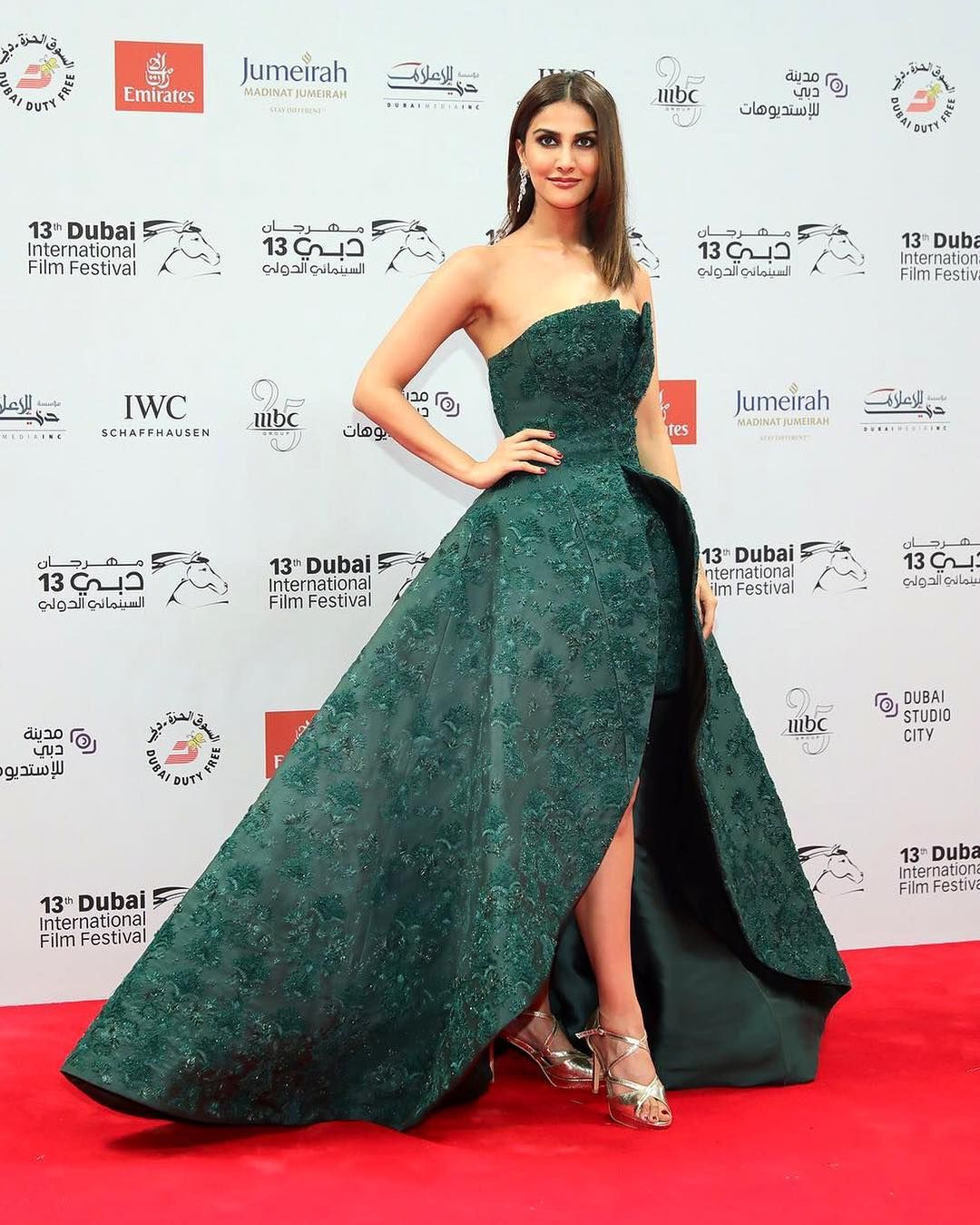 Bollywood Actress Vaani Kapoor Graced The Red Carpet At The Dubai International Film Festival Celebrity Gowns Celebrity Inspired Dresses Lace Evening Dresses