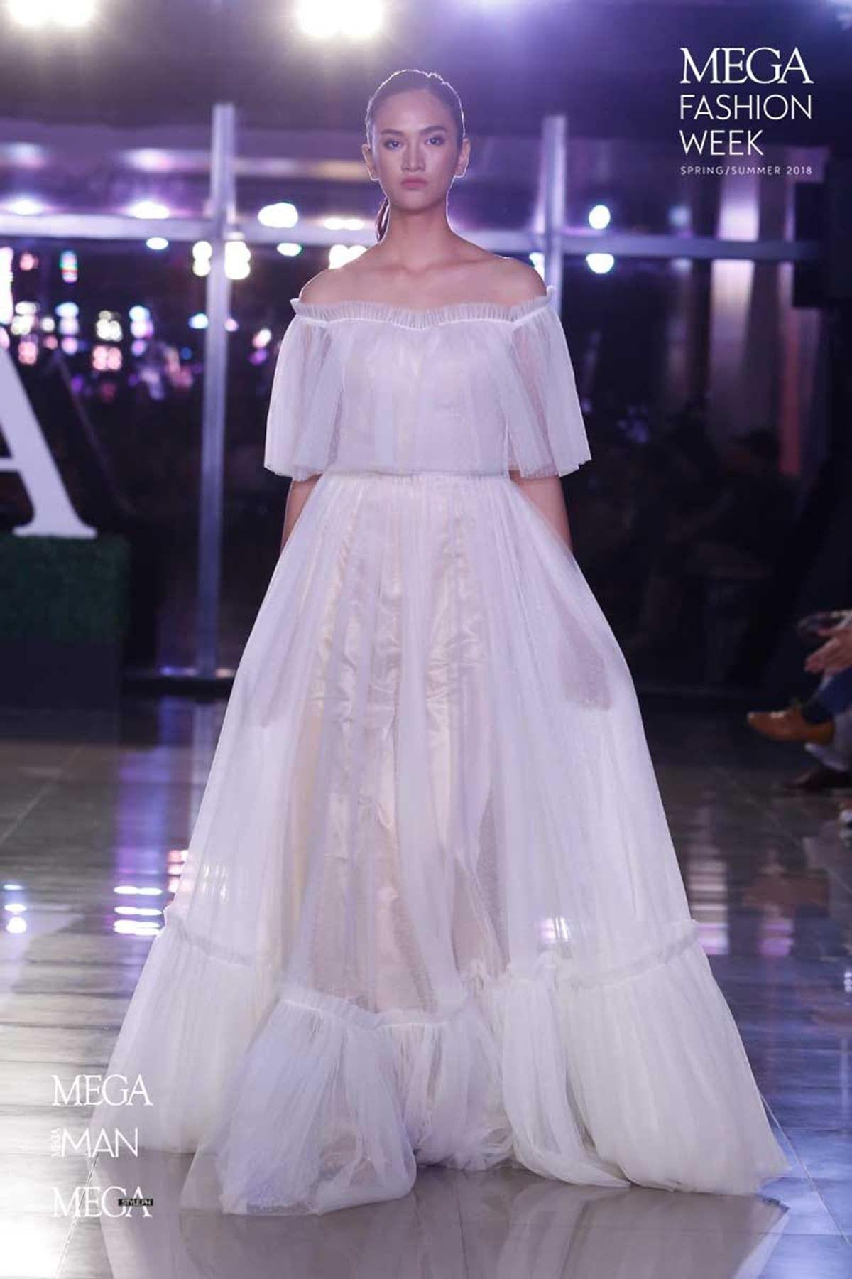 Aline floor length tulle and elastic silk like satin wedding dress