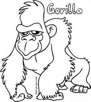 Free Printable gorilla coloring