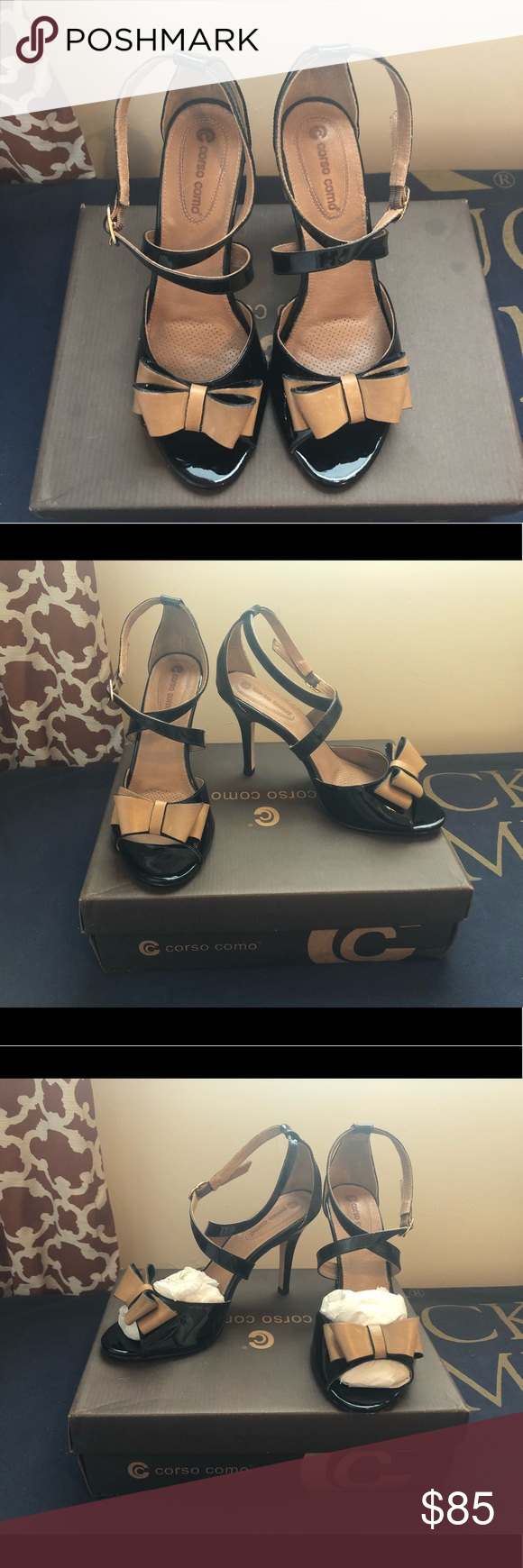 3bd9d06b348146 Corso Como Nordstrom Black   Tan Heels Sz 8 Only worn for one occasion