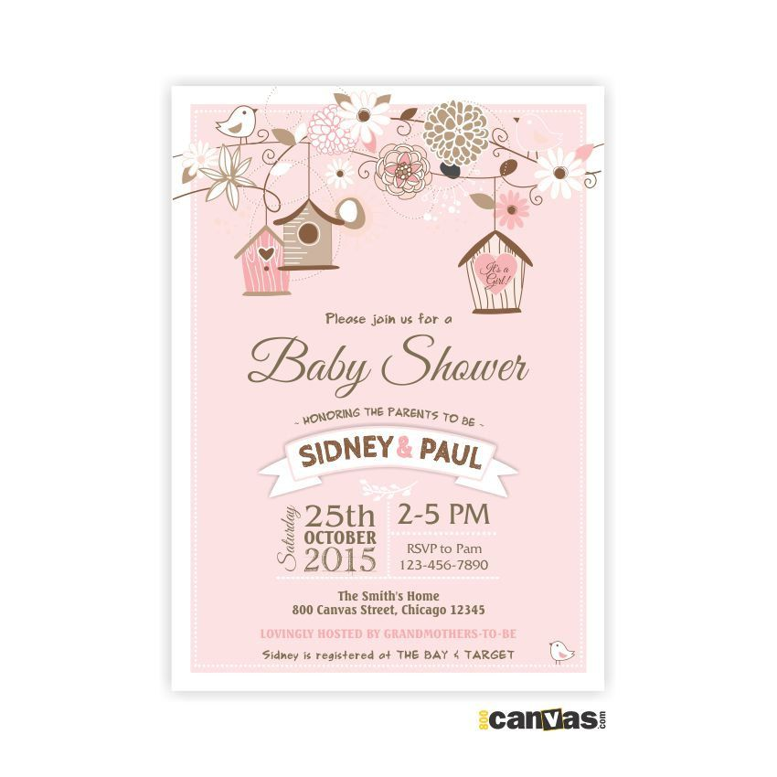 Couples Baby Shower Invites, Garden Tree Floral Baby Girl Pink ...