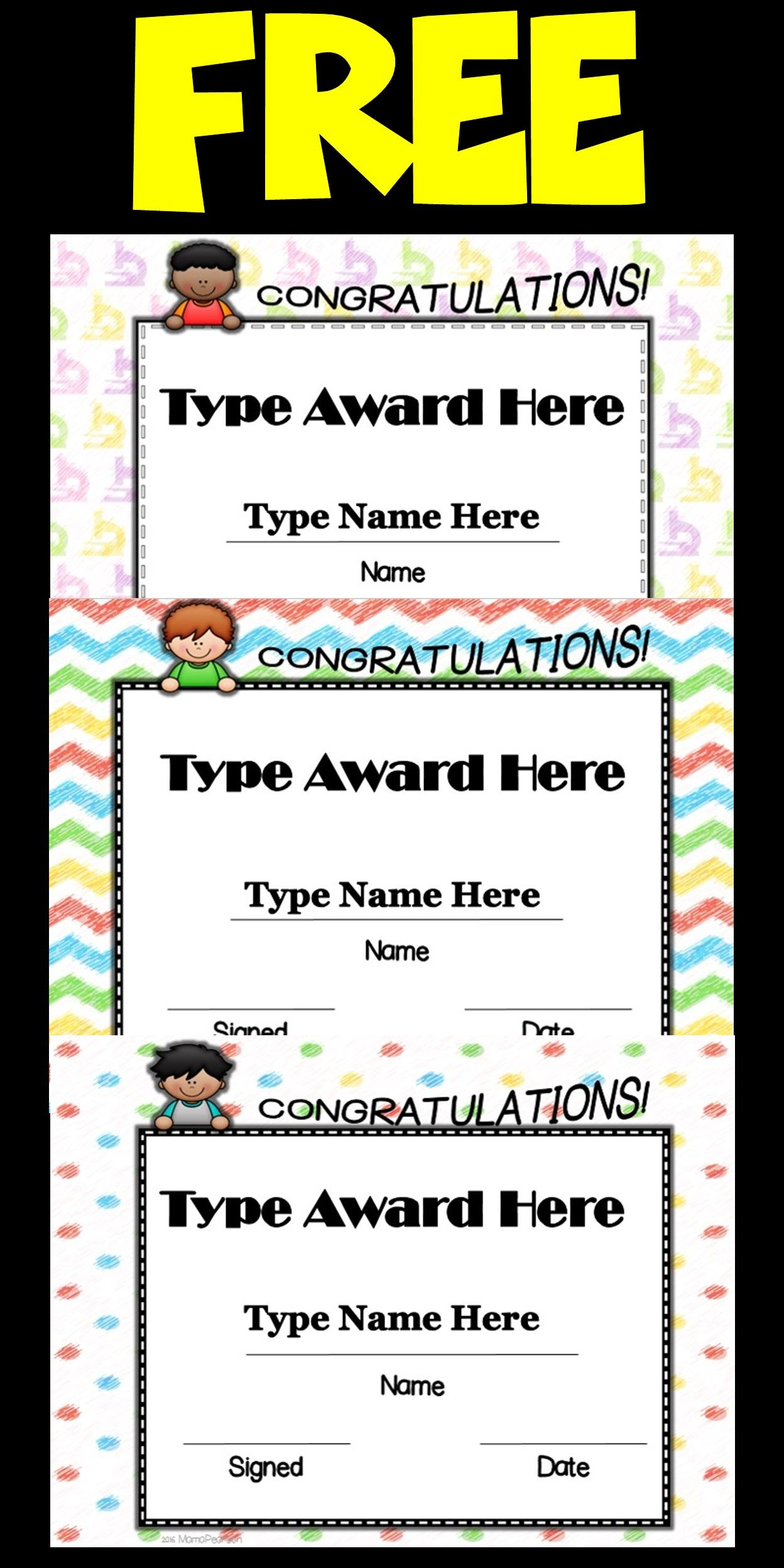 Kids end of the year editable awards certificate template and free for 24 hours 84 different awards templates are waiting to help you recognize your wonderful 1betcityfo Images