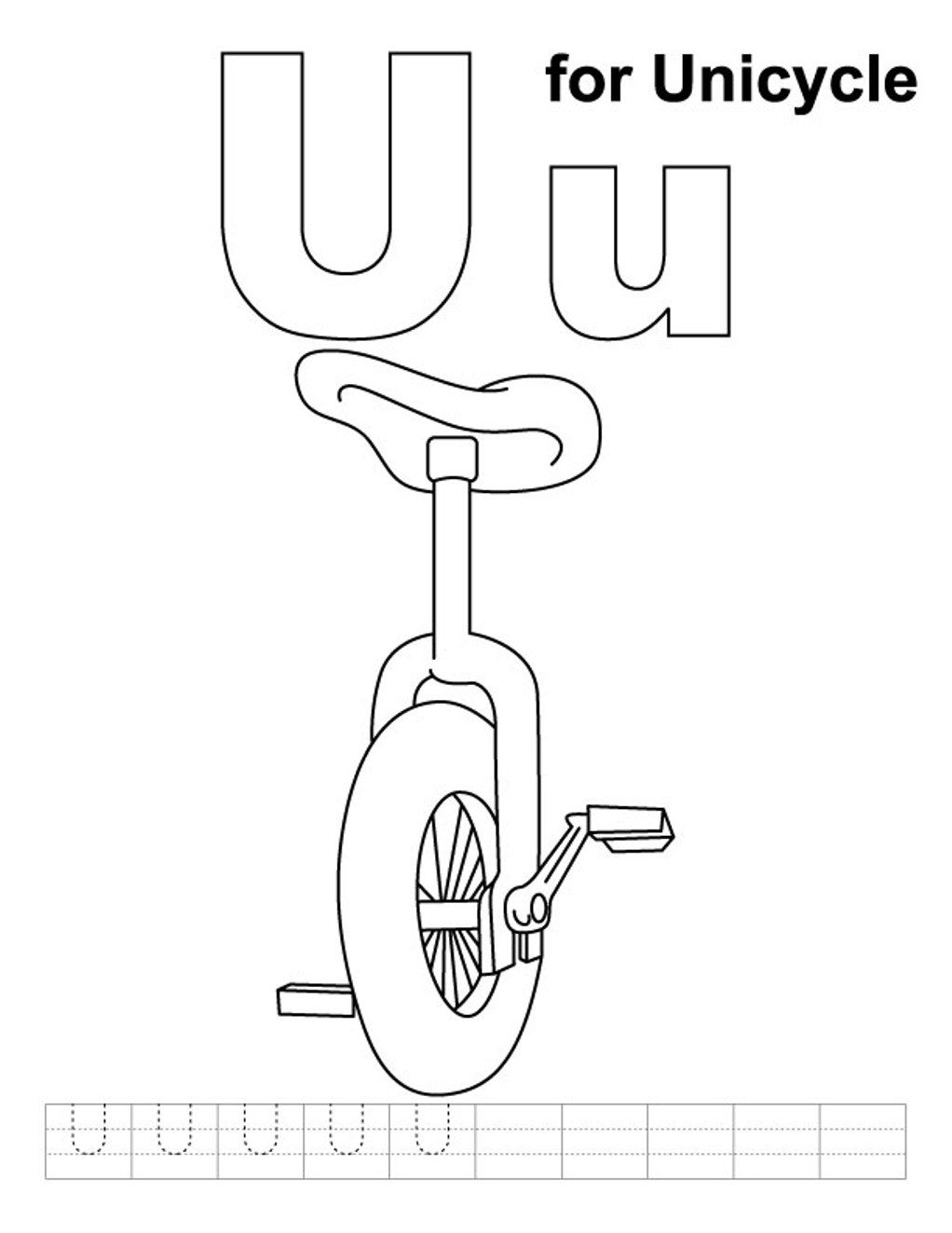 Unicycle Alphabet Coloring Pages Free Alphabet Coloring Pages Coloring Pages Alphabet Coloring