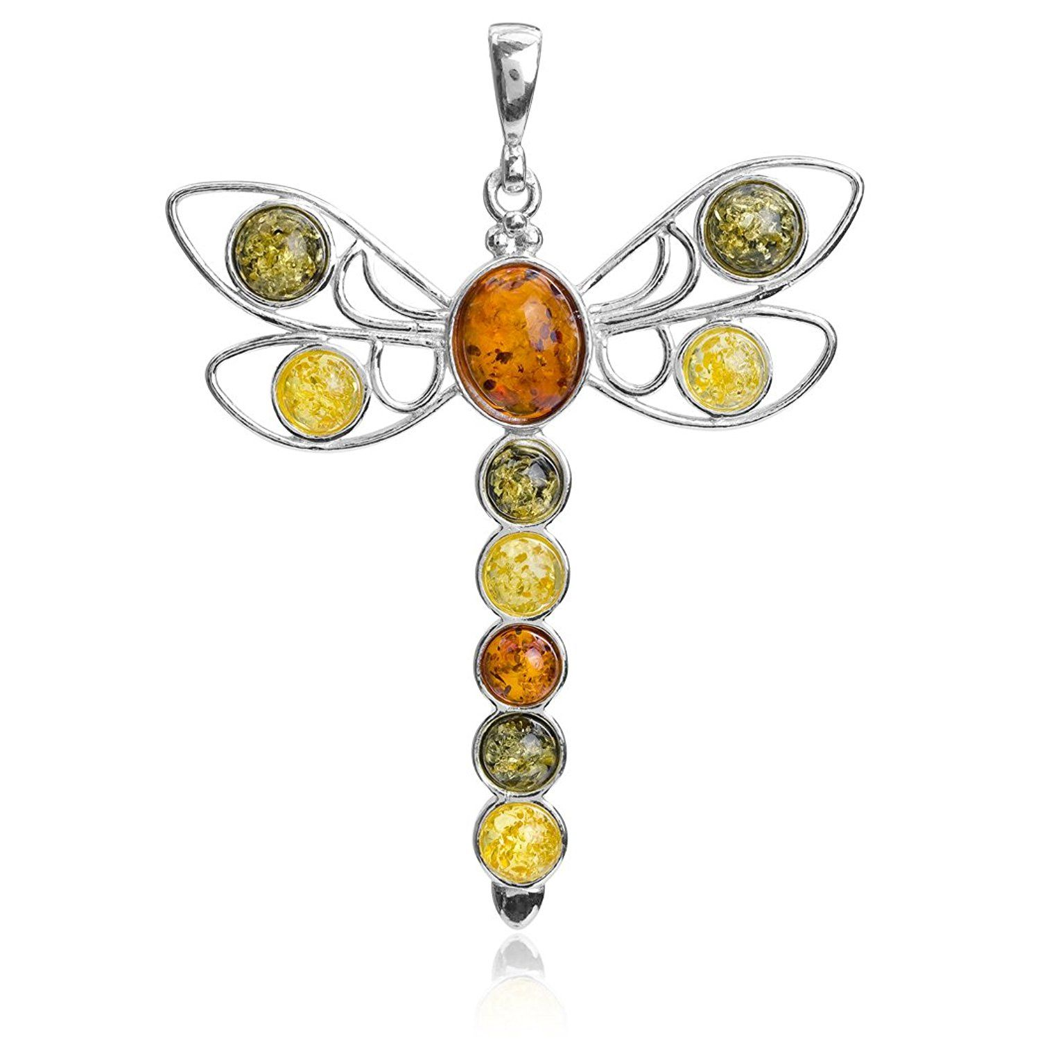 Multicolor Amber Sterling Silver Dragonfly Pendant Necklace Chain 46 cm HpqOx8X