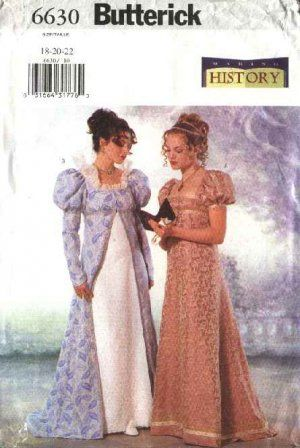 Butterick Sewing Pattern 6630 Misses Size 12-14-16 18th Century ...