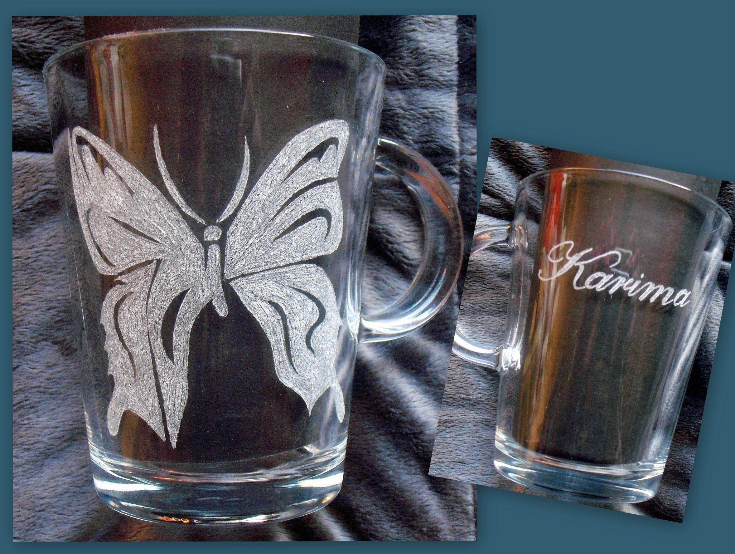 Gravures Sur Verre en ce qui concerne papillon gravure sur verre mug | mes réalisations | pinterest