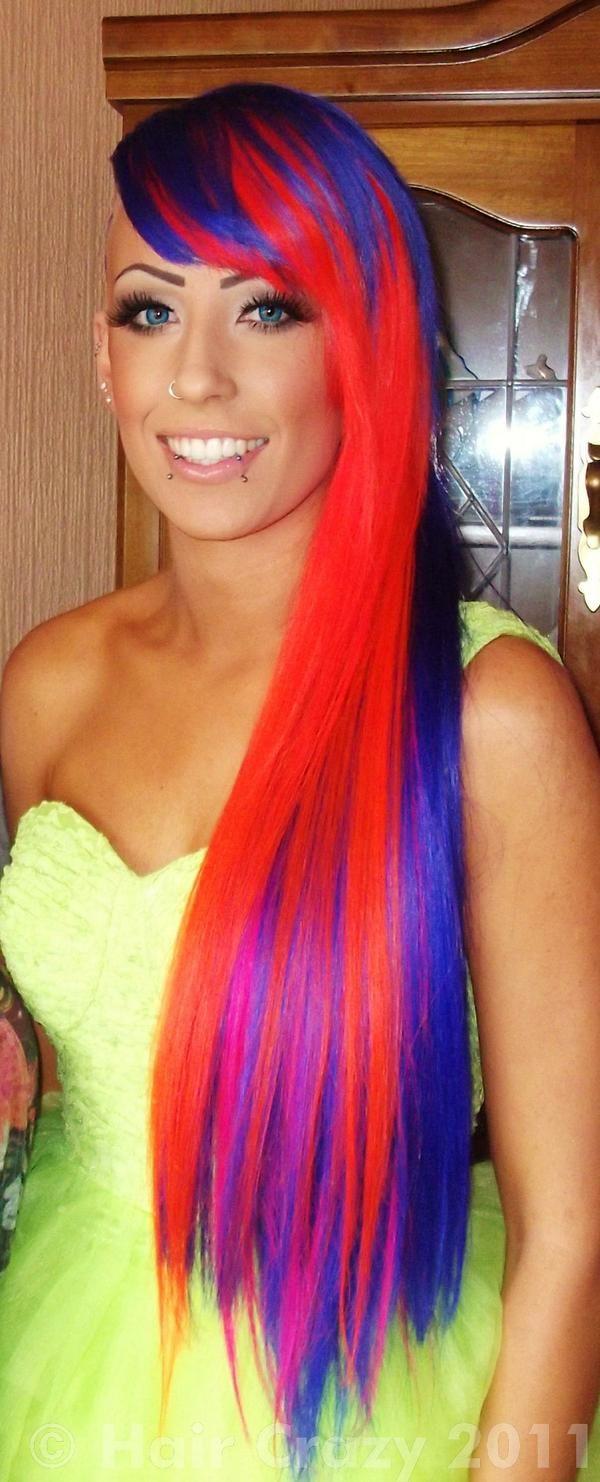 Pink orange and blue hair rainbow hair pinterest hair