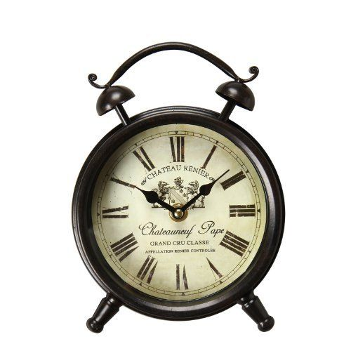 Adeco VintageInspired Brown Iron Clock Wall Hanging or Table Clock Roman Numerals Chateauneuf Pape Home Decor off white black -- Details can be found by clicking on the image.