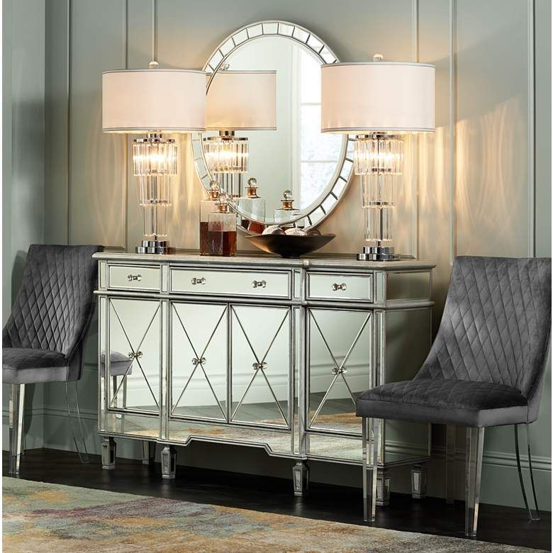 Cablanca 60 Wide 4 Door 3 Drawer Silver Mirrored Cabinet 13y06 Lamps Plus Budget Home Decorating Home Decor Decor