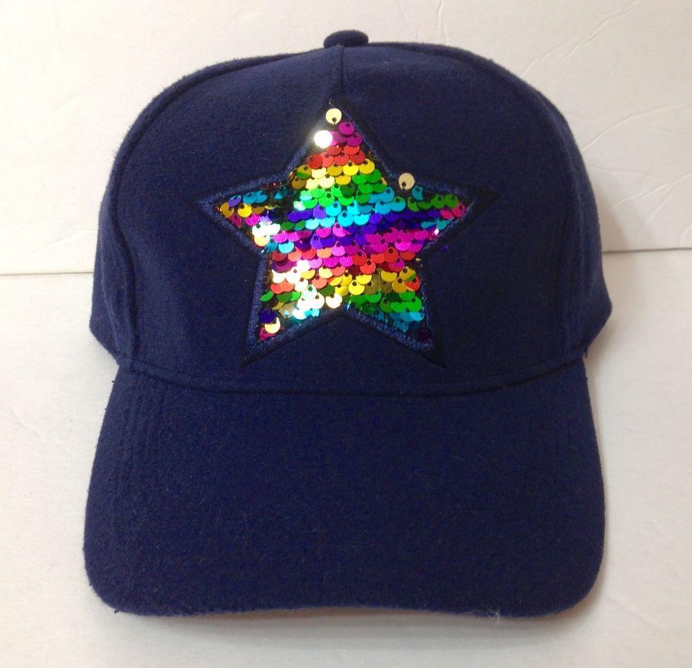 36bb23da1 New Womens SPARKLY SEQUIN RAINBOW STAR HAT Navy Blue Multi-color ...