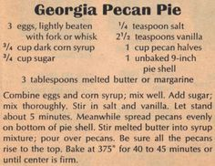 Recipe Clipping For Georgia Pecan Pie #pecanpie
