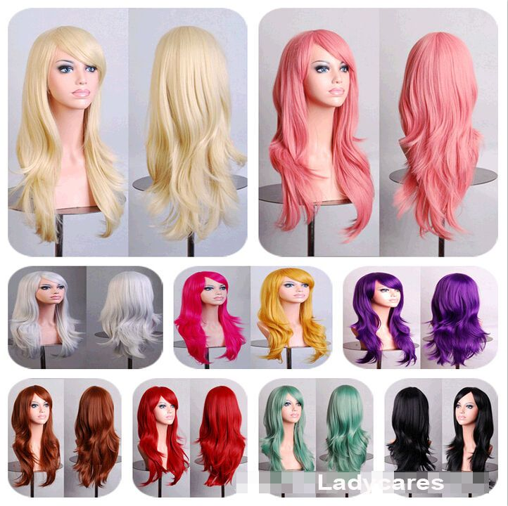70CM Fashion Womens Long Curly Wavy Hair Synthetic Anime