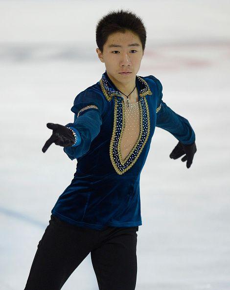 Tangxu Li of China skates during junior men free skating of ISU Junior Grand Prix of figure skating on September 12, 2015 in Linz, Austria