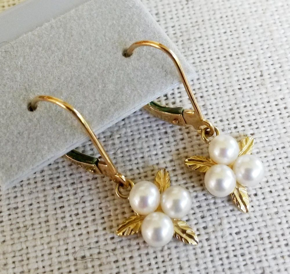 Vtg Bastian Brothers 14k 3 Pearl Earrings Dangle 19gr Leaf Genuine  #bastianbrothers #dangle