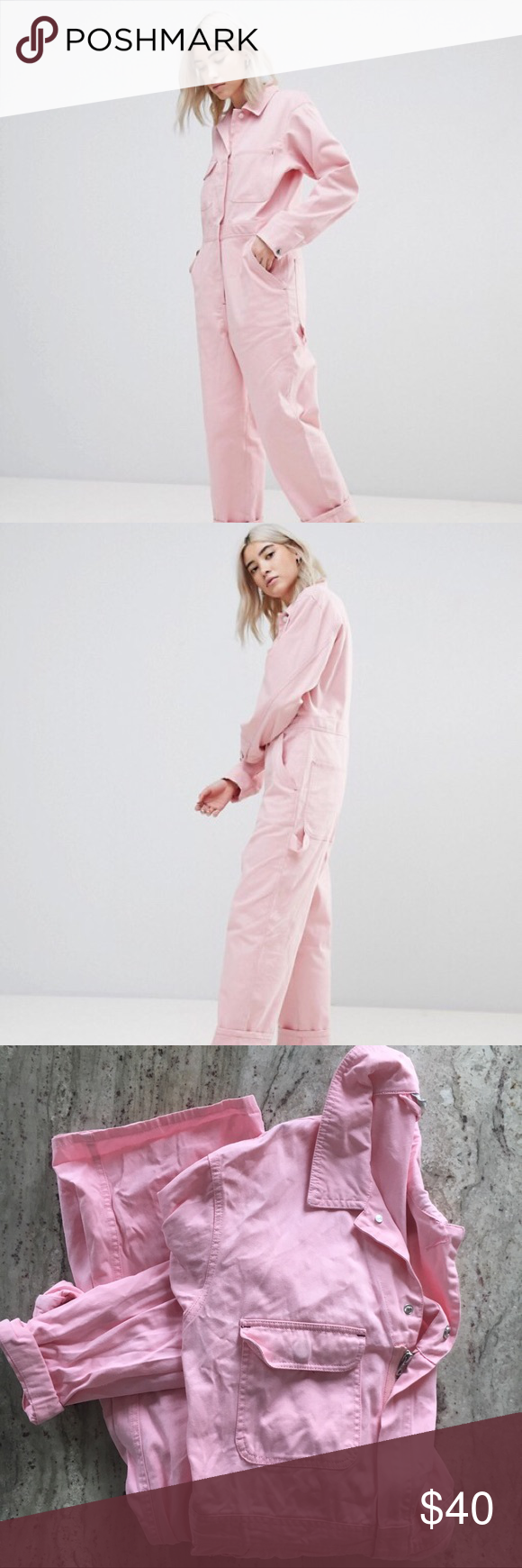 997d80f7059 ASOS Twill Boilersuit in Pink ASOS utility work jumpsuit! Perfect for  wearing that Glossier pink. Worn once! ASOS Pants Jumpsuits   Rompers