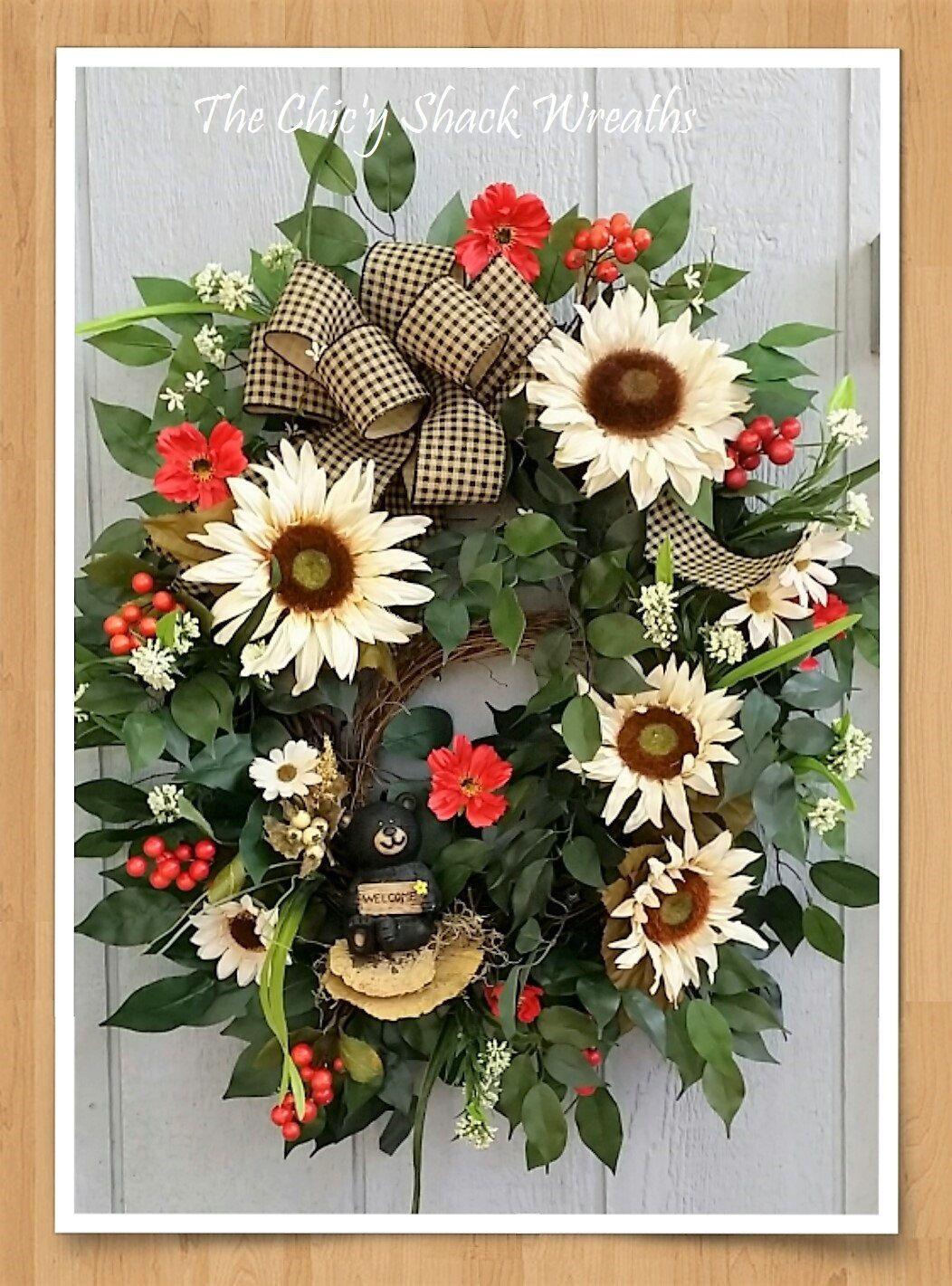 Photo of Large oval autumn wreath, black bear wreath, black bear decor, sunflower wreath, rustic wreath, cabi …