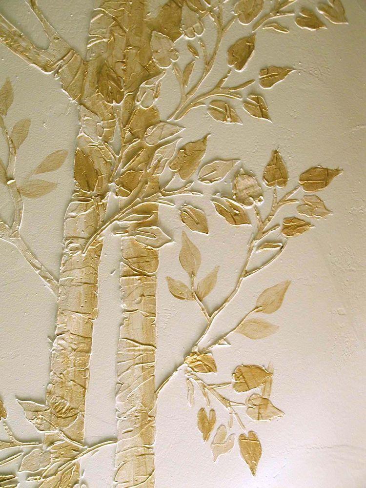 Stencil, Plaster Stencil, Life Sized Aspen Tree Wall Stencil, Wall ...