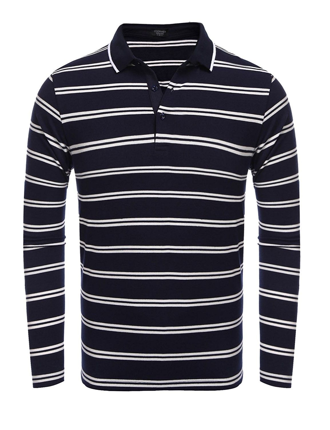 Mens Long Sleeve Polo Shirt Casual Striped Classic Fit Cotton T