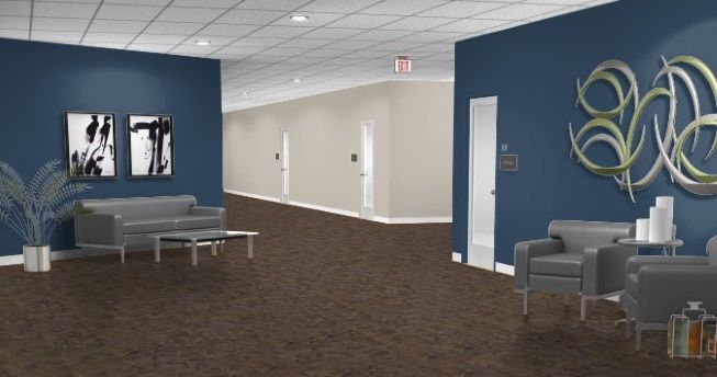 blue office walls. navy wall color works with existing tan and gray blue office walls