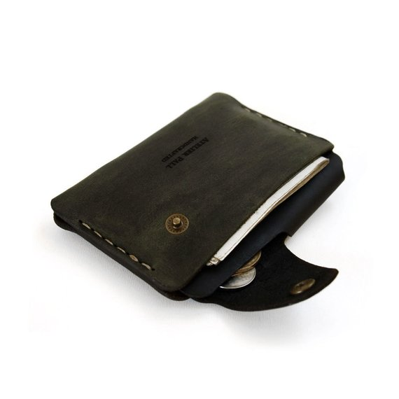 2aa72f840195 SALE Side snap wallet in khaki by AtelierPall men wallet and women double  snap wallet with cash and