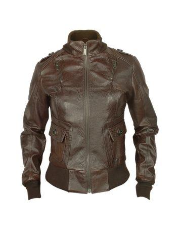 Signature - Women's Dark Brown Lizard Stamped Genuine Leather Jacket