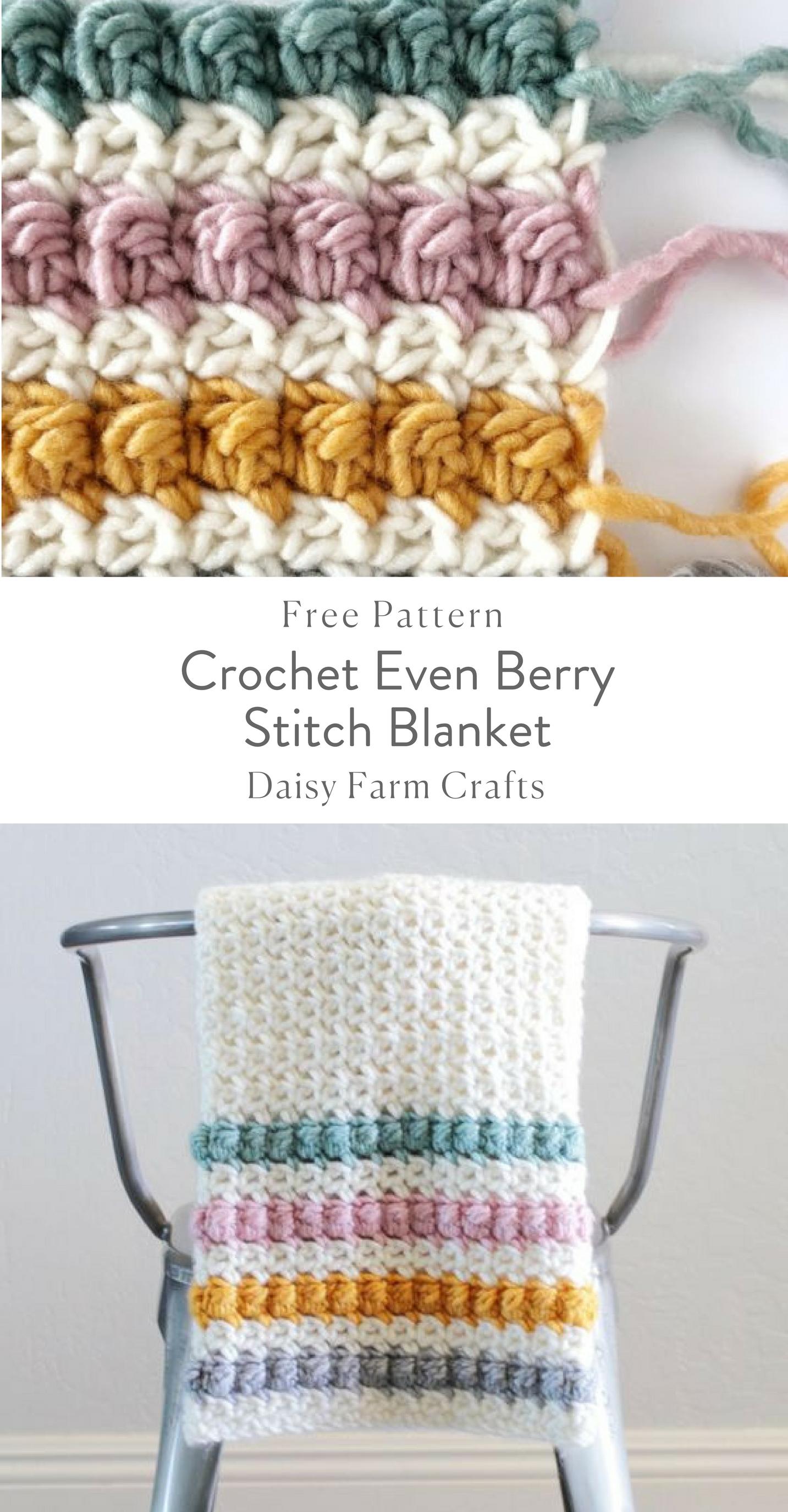 Crochet Even Berry Stitch Blanket - Free Pattern | Crochet | Pinterest
