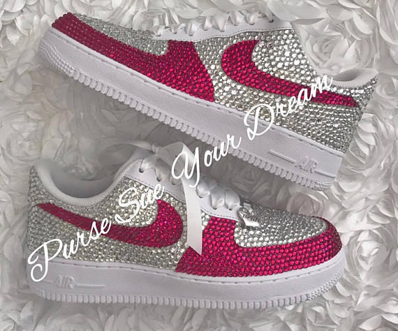 Swarovski Crystal Rhinestone Nike Air Force 1 Designed Shoes - Swarovski  Crystal Designs - Rhinestone Nike Air Force One - Wedding Nikes swarovski  nike d6b77014d2