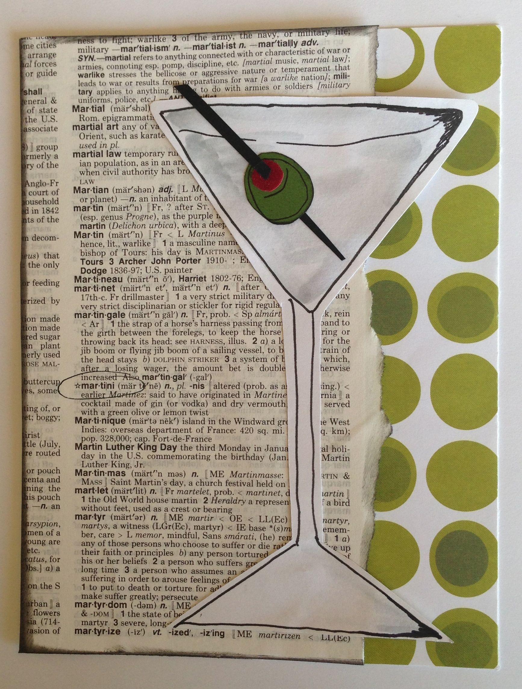 Olive Martini Blank Greeting Card.   www.greetingsbydeb.com