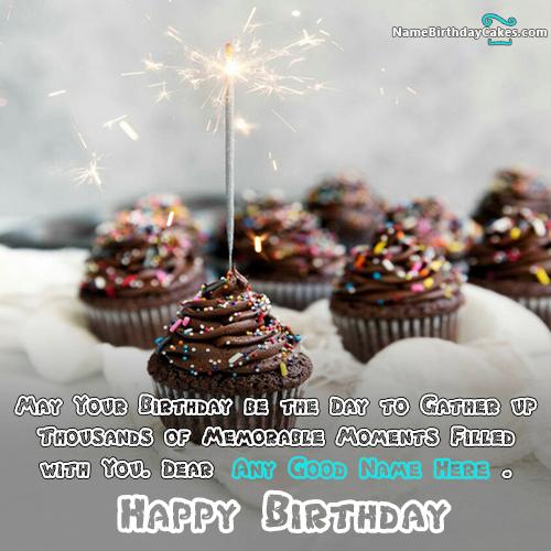 write name on Glitter Cupcake Candle Happy Birthday Wish
