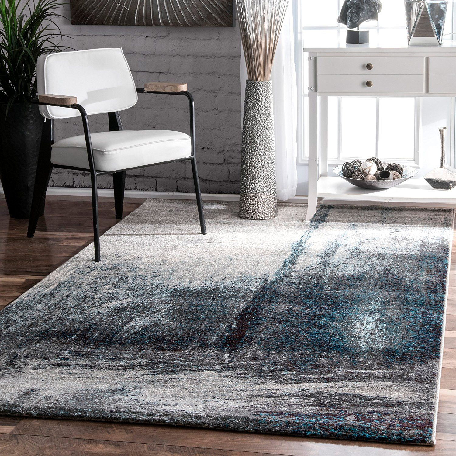 Hallway carpet runners sold by the foot  Contemporary Midnight Fog Abstract Grey Area Rugs  Feet by  Feet