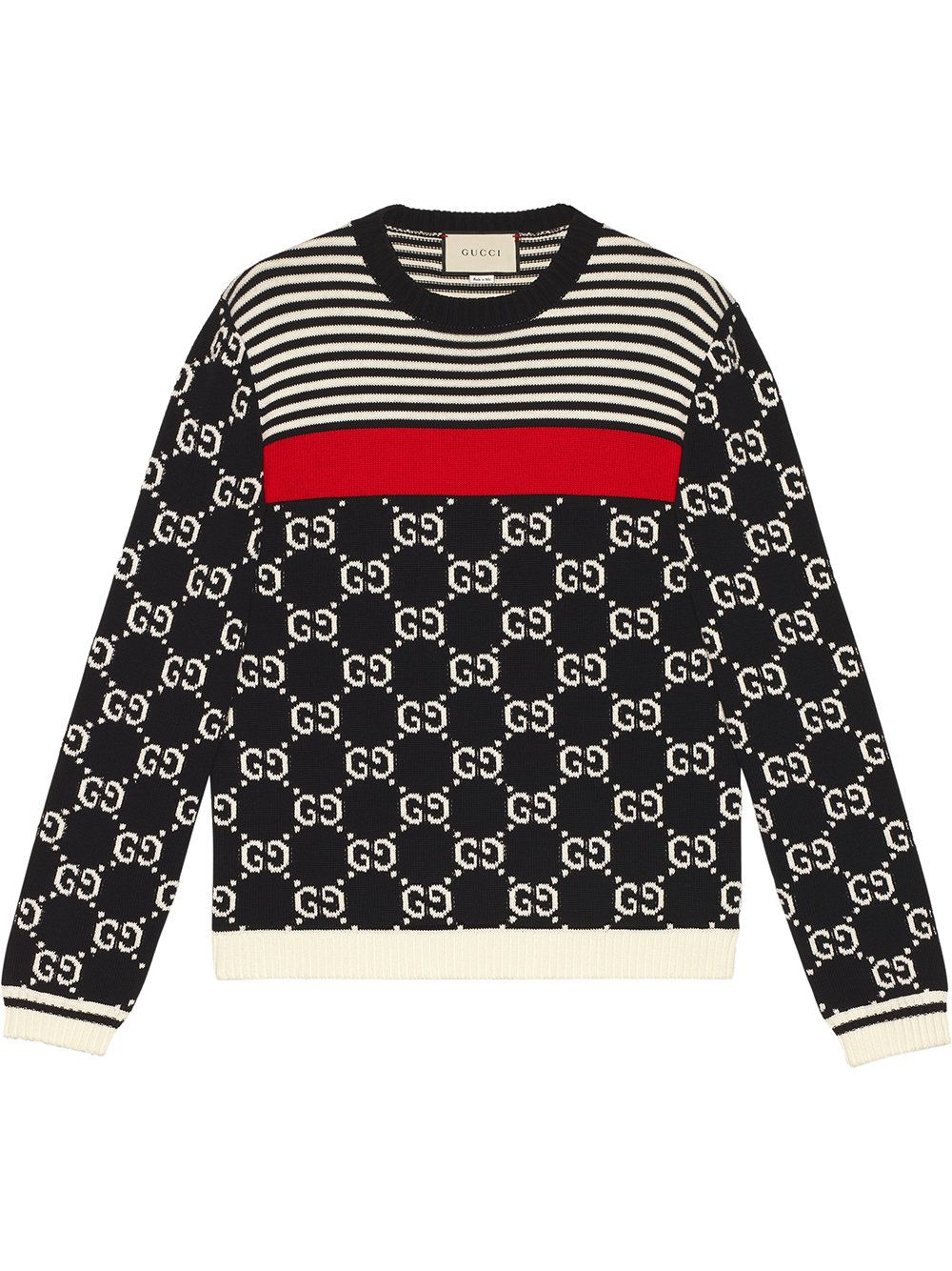 05582c08636 GUCCI Gg-Intarsia And Stripe Crew-Neck Sweater