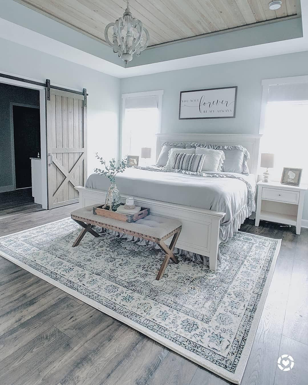 Farmhouse Homes On Instagram This Light Blue Farmhouse Bedroom Has Us Swooning Every Detail Of This Master Bedrooms Decor Home Bedroom Bedroom Refresh