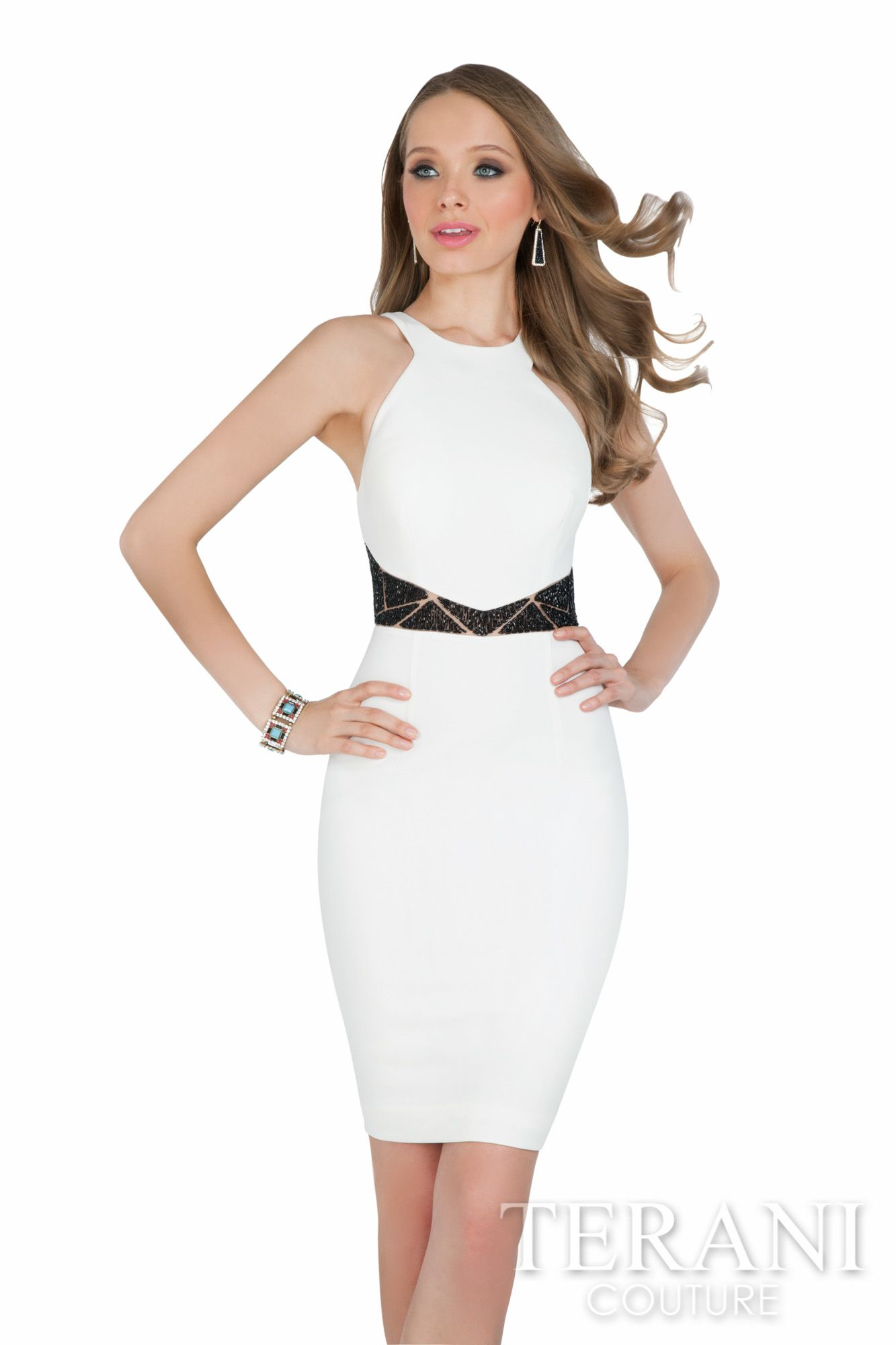 Terani Couture halter cocktail dress with matching geometric ...