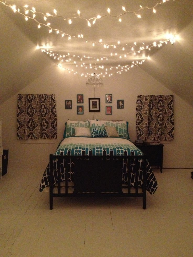 Superb String Lights In Bedroom Ideas Part - 12: Bedroom Lighting Diy Christmas Lights Teenage Aesthetic Cute Simple
