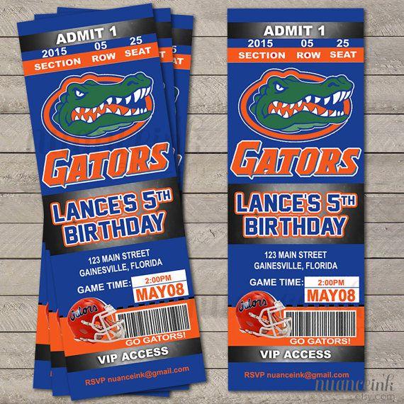 Florida Gators Football Ticket Birthday Party Invitations Printed Or Digital Copy 24 Hr Tur Birthday Invitations Kids Football Birthday Party Football Birthday