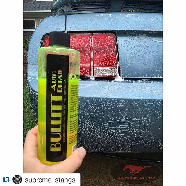 #Repost @supreme_stangs #sudsysunday Trying out @bullittautodetail's products for the first time!! First the Wash!! Owner: @hernameisholly