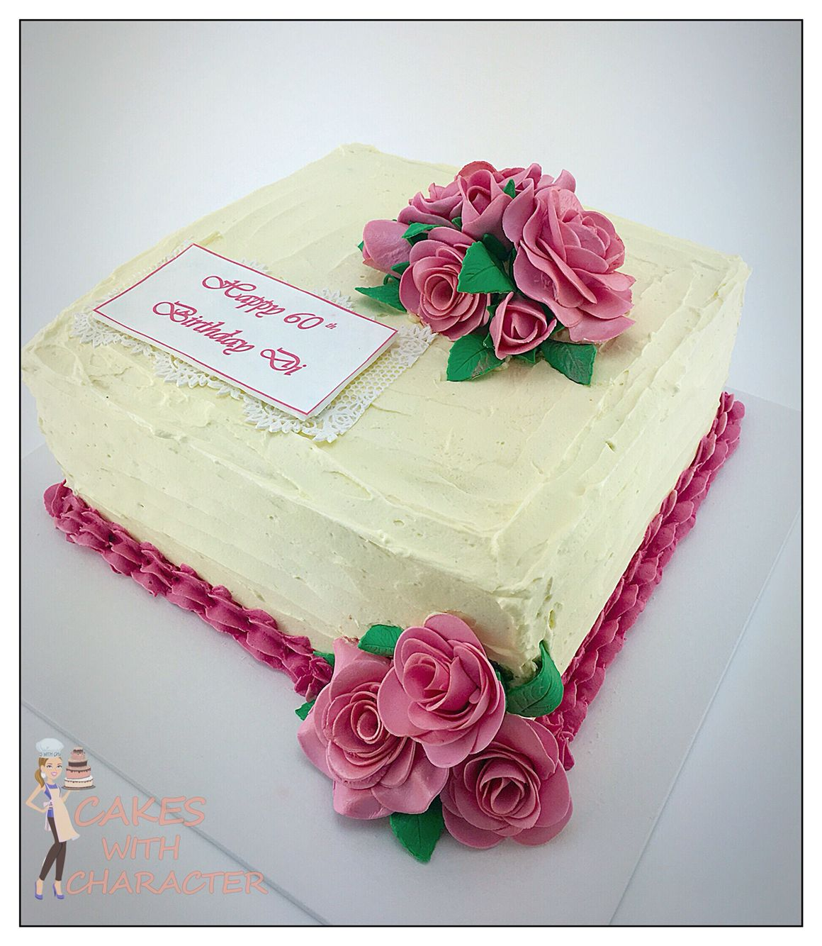 60th Birthday Square Buttercream Cake With Pink Fondant Roses