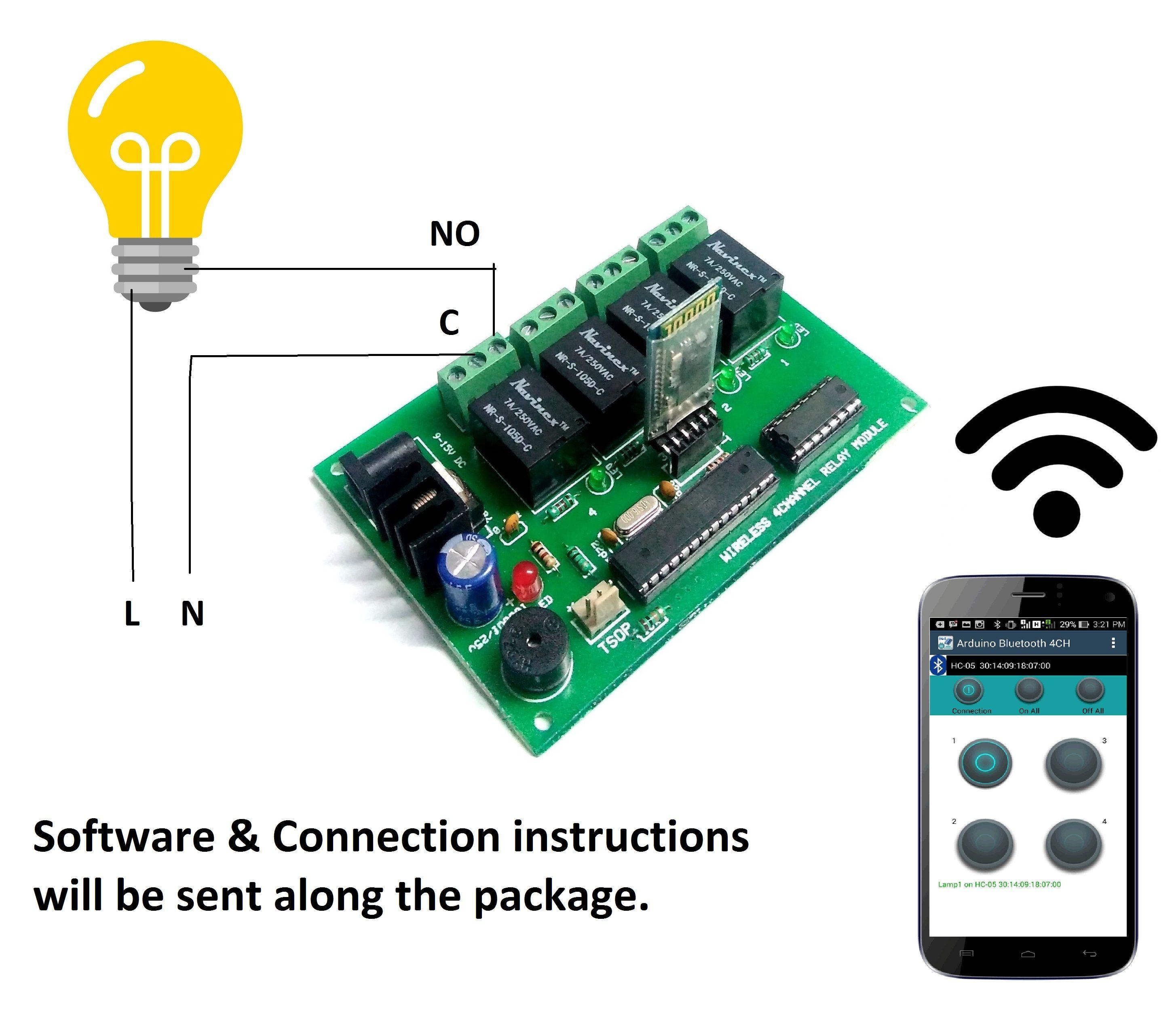 Bluetooth Wireless 4 Channel Light Fan Control Relay Module Automation Module Bluetooth 4 Channel Relay