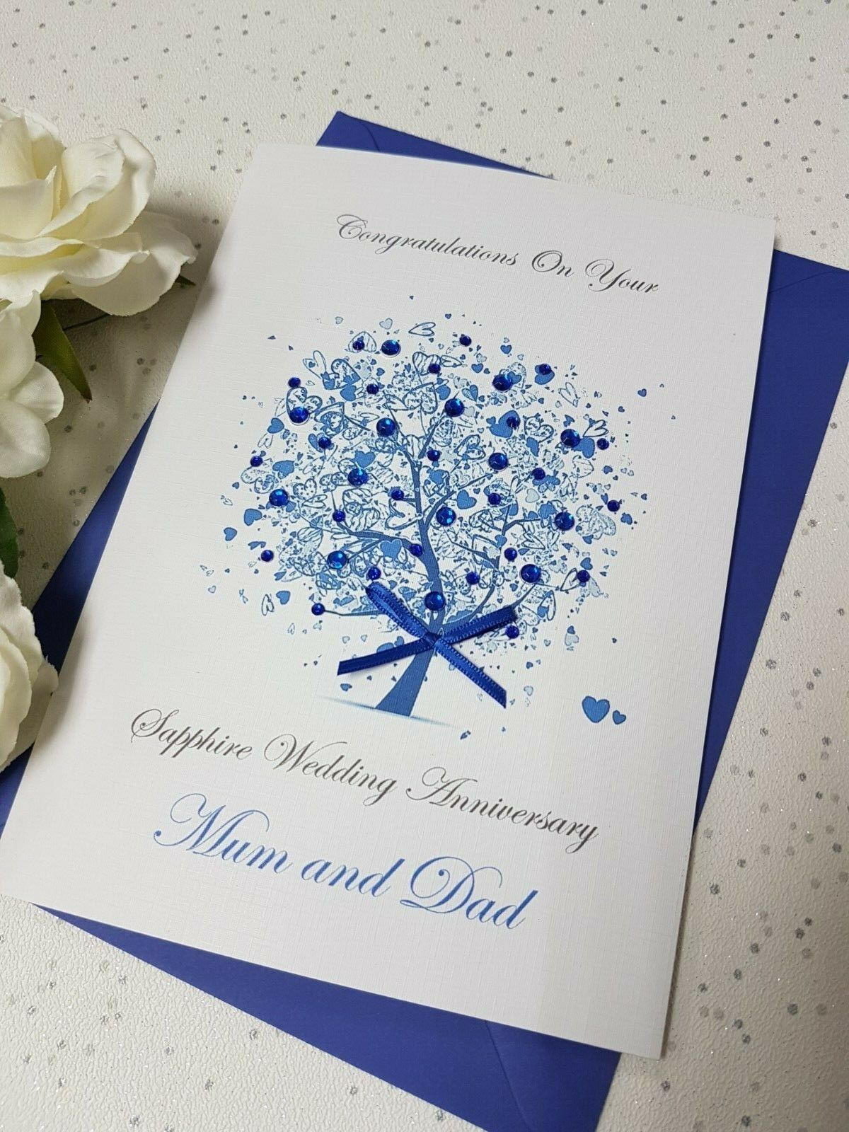 Sapphire 65th 45th Wedding Anniversary Card Handmade Personalised Box Envelope Cards Anniversary Cards Handmade Wedding Anniversary Cards Anniversary Cards