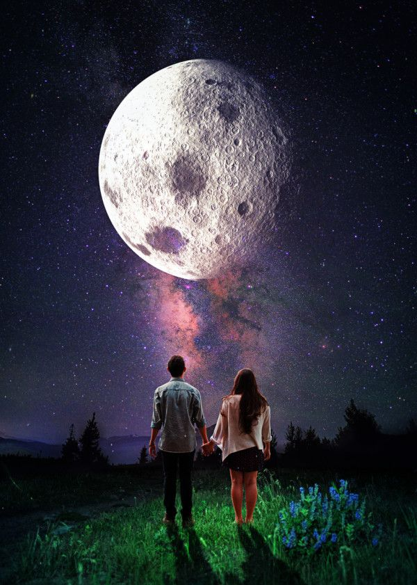 Displate Poster  Under The Same Moon surreal #surrealism #digital #digitalart #design #graphicdesign #illustration #couple #moon