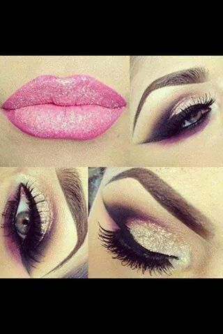 maquillaje aumado cafe y dorado