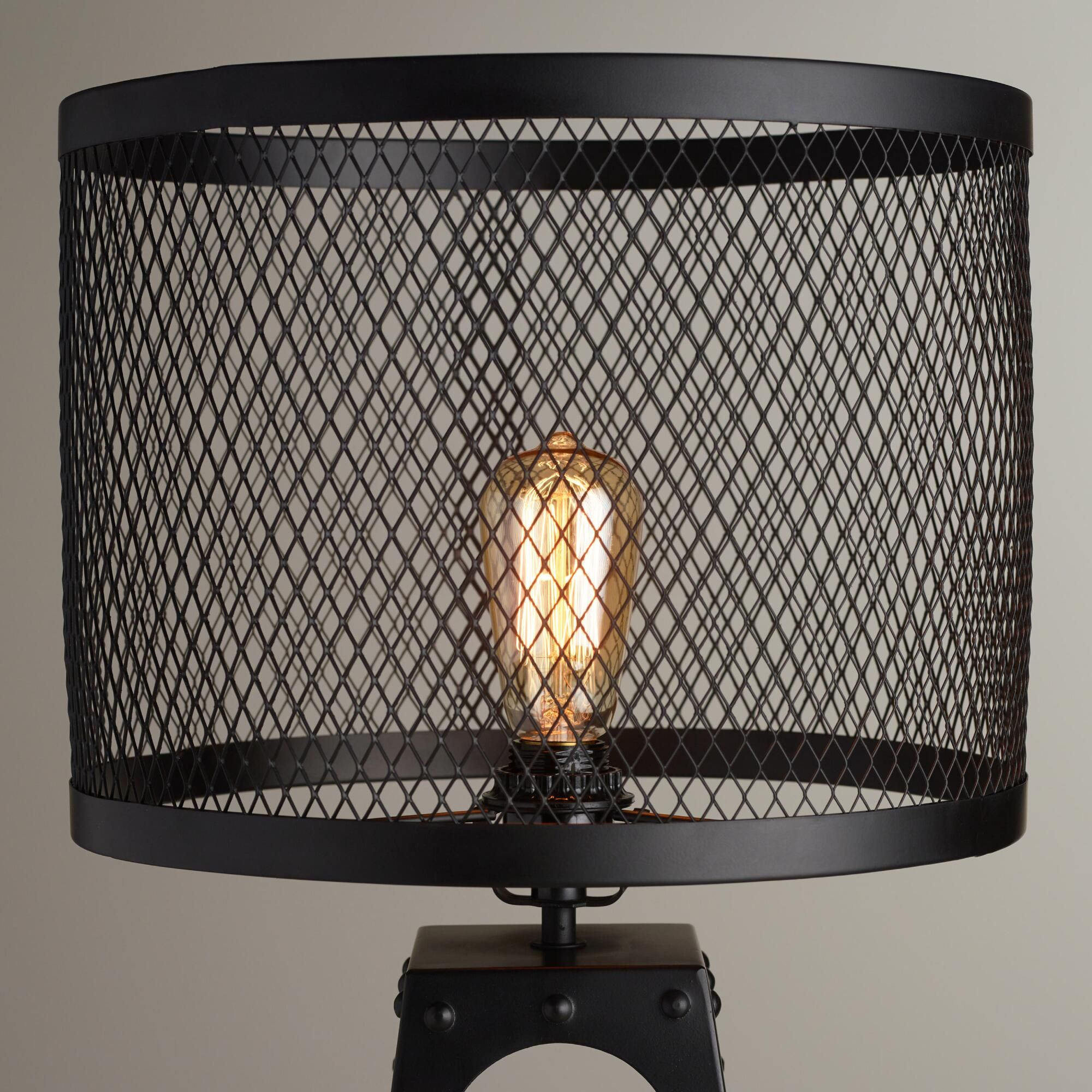 Riveted table lamp shade table lamp shades table lamp base and made of iron with an open lattice design in a matte black finish our attractive riveted table lamp shade is full of modern industrial appeal geotapseo Image collections