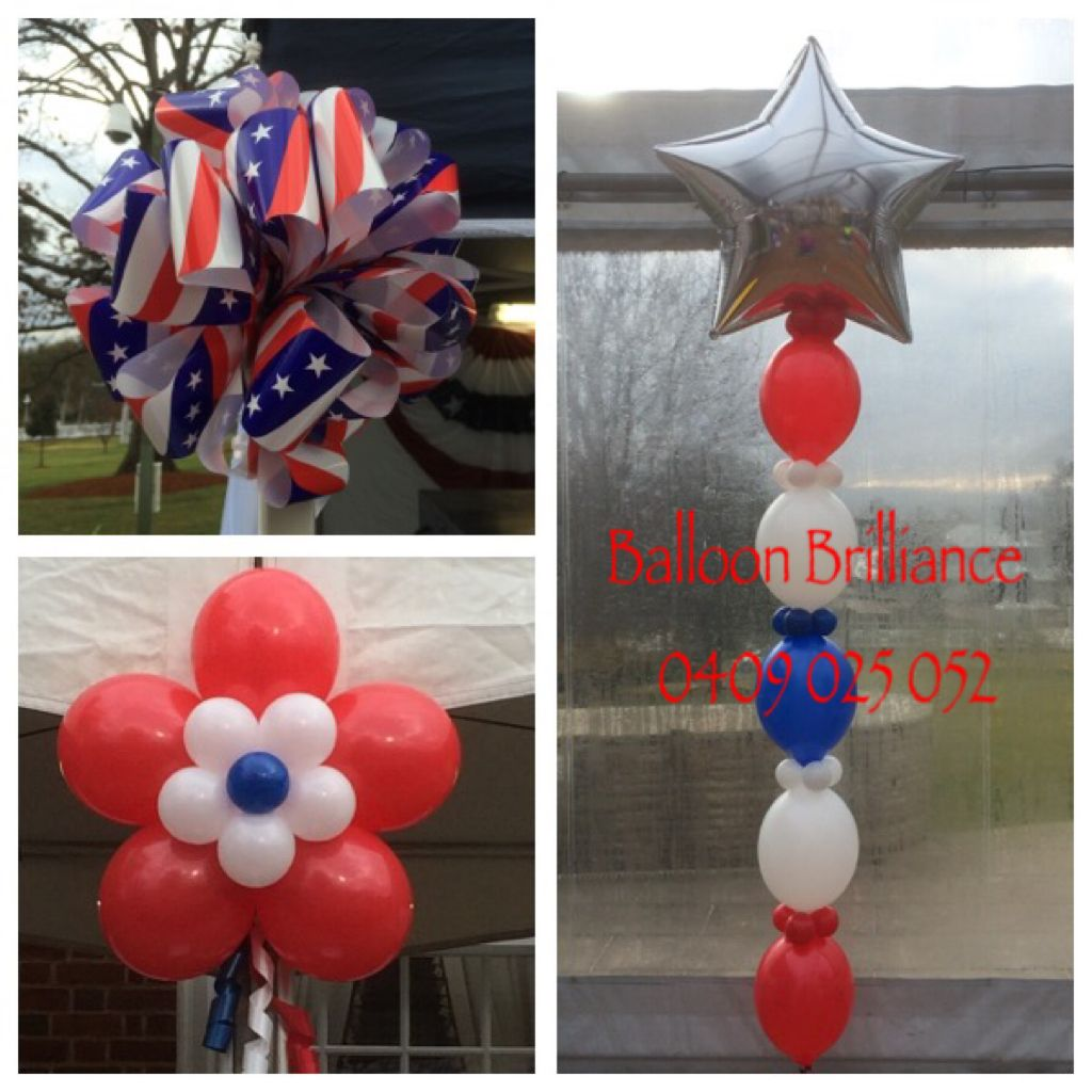 """""""4th of July celebrations in Canberra"""" #bows #linkingballoons #balloonflowers #americanembassy #act #cbr #canberraballoons #BalloonBrilliance"""