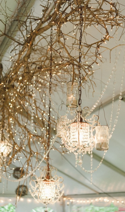 Lighting Branches Chandeliers In Tent Event Party Wedding