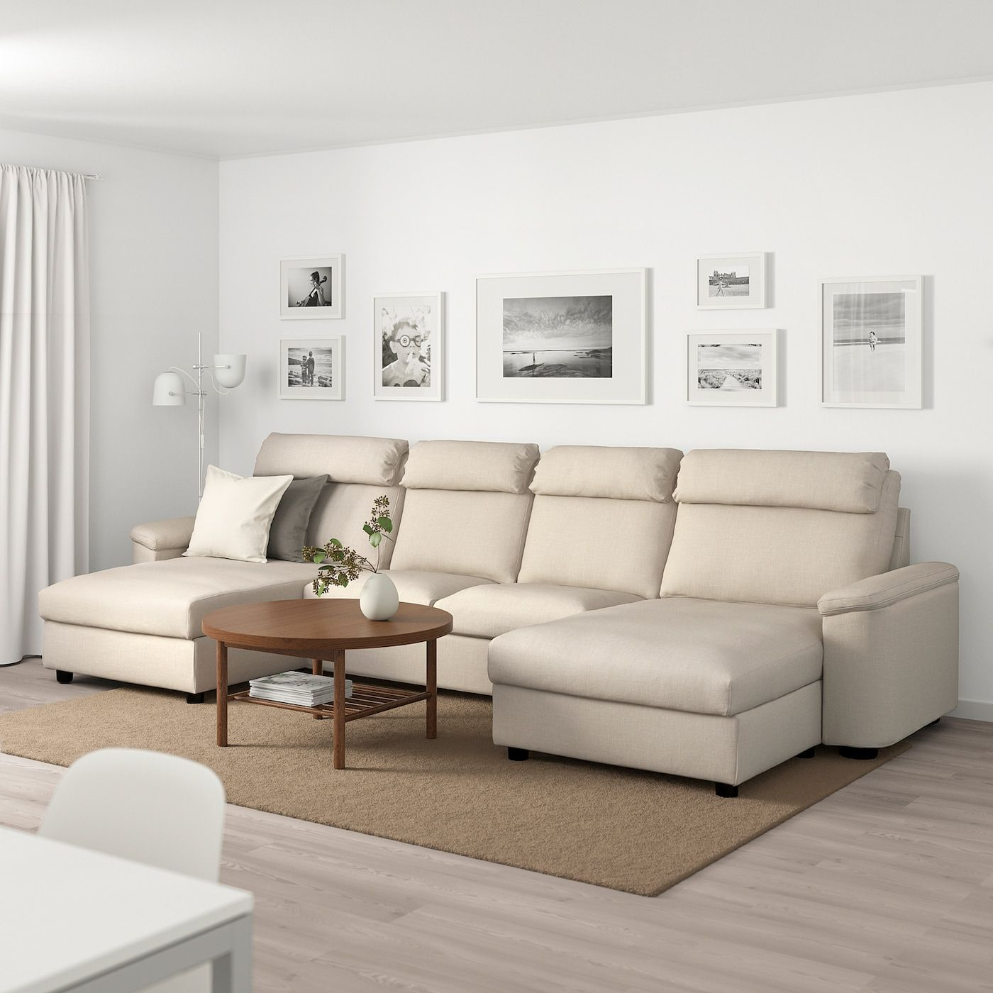 Lidhult Sectional 4 Seat With Chaise Gassebol Light Beige In