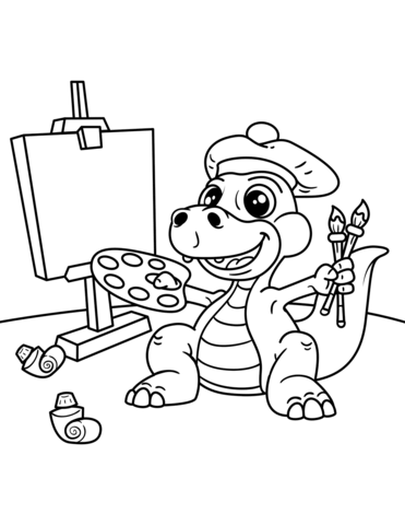 Click To See Printable Version Of Cute Dinosaur Artist With Easel Brush And Palette Of Colors Colorin Dinosaur Coloring Pages Dinosaur Coloring Coloring Pages