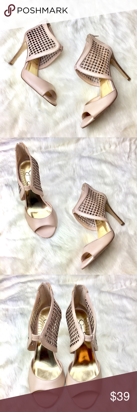 Jessica Simpson Jersee Pump in Blush Gorgeous Jessica Simpson open toe heels with perforated ankle straps, finished in a soft pink leather. Leather upper, manmade lining and sole. Barely worn. Excellent condition. Jessica Simpson Shoes Heels