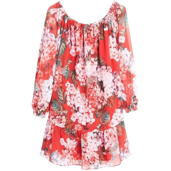 95a44db8a98f9 Mango Floral Print Dress, Pink (€34) ❤ liked on Polyvore featuring dresses,  red mini dress, maxi dress, long-sleeve mini dress, long sleeve midi dress  and ...